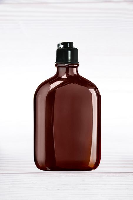 """300 בקבוקי 250 מ""""ל PET מרובעים חומים + פקק סנאפ שחור"""