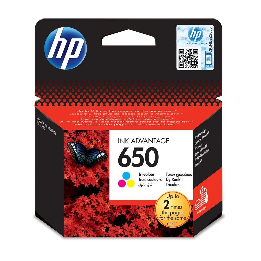 ראש דיו צבעוני HP 650 CZ102AE