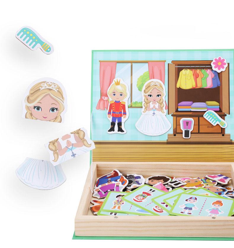 תיבת עץ עם פאזלים מגנט- צעצוע למידה חינוכי.