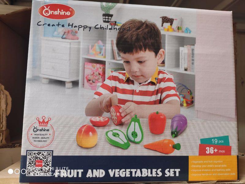 ערכת חיתוך פירות וירקות מעץ 19 חלקים