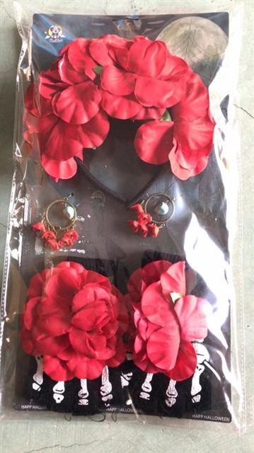 סט תחיית המתים-קשת פרחים כפפות ועגילים