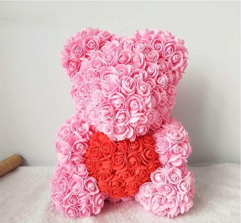 """דובי פרחים בעבודת יד 38 ס""""מ"""