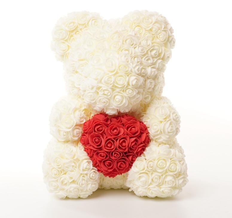 """דובי פרחים לבן לטו באב 38 ס""""מ"""