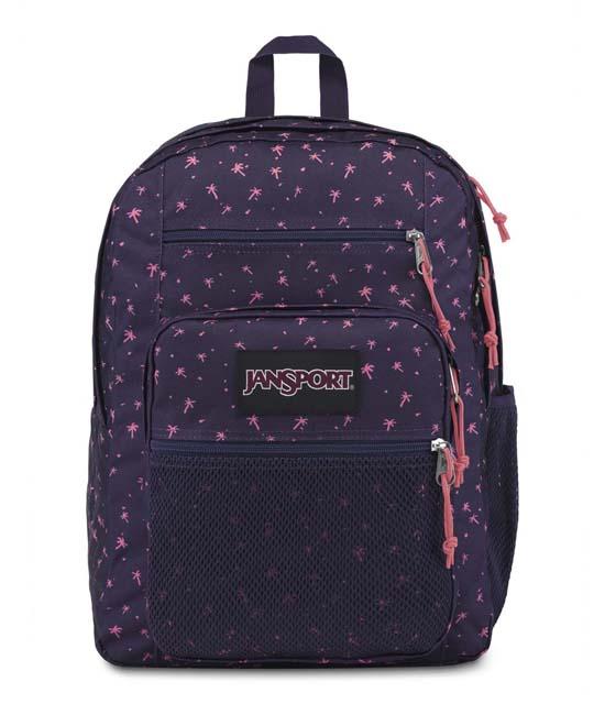תיק גב ג´נספורט ביג קמפוס BIG CAMPUS צבע סגול עם דקלים ורודים קטנים JANSPORT