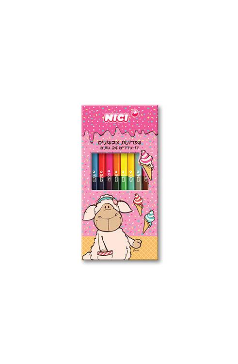מארז 12 עפרונות צבעוניים דו צדדיים ניקי בקופסת קרטון NICI