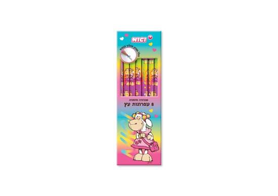 מארז 8 עפרונות מעץ מחק כולל עיפרון מחליף צבעים ניקי NICI