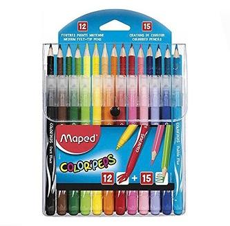 סט 12 טושים ו-15 צבעי עיפרון maped