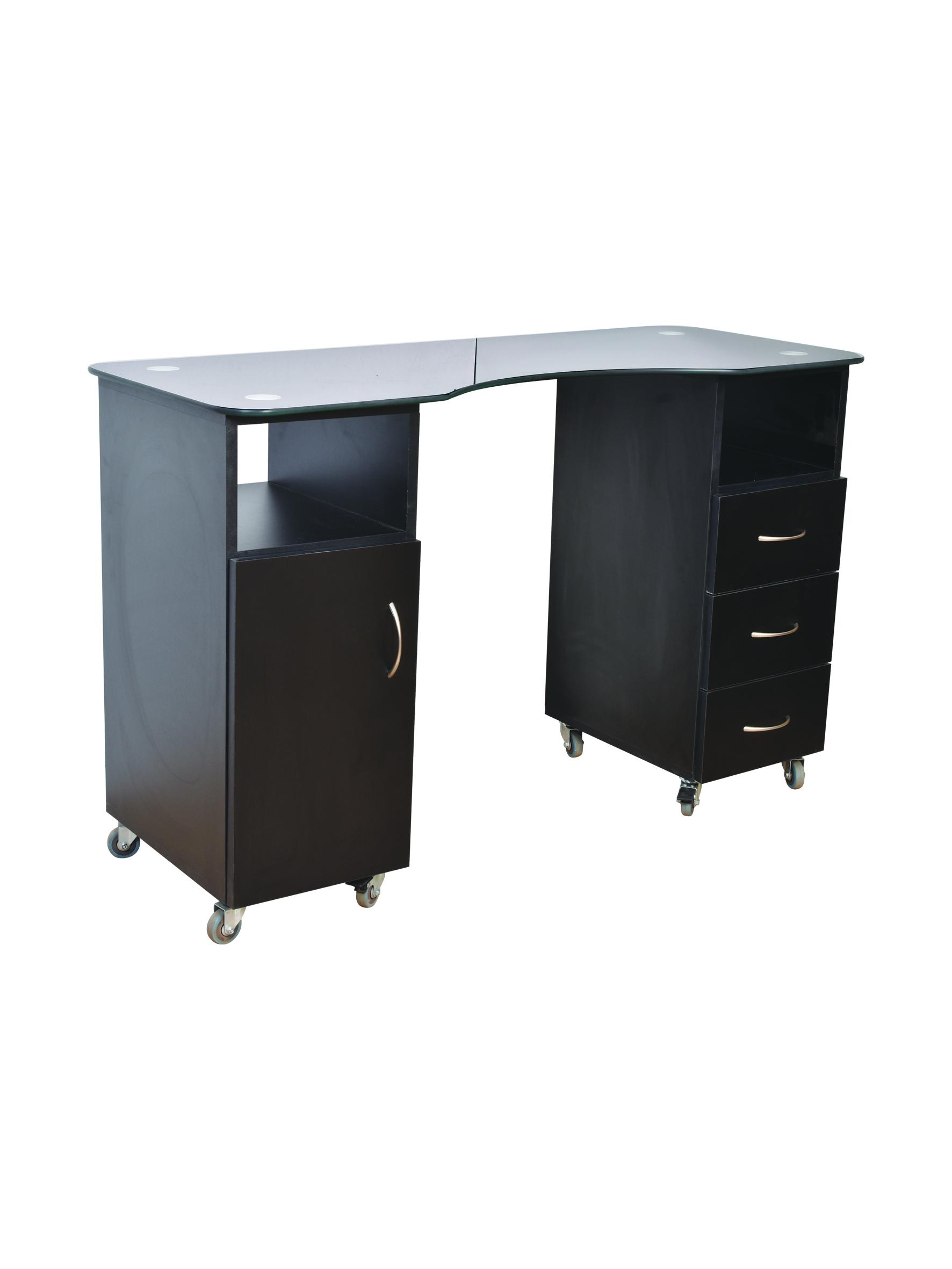 שולחן לבניית ציפורניים 1.20 פלטת עץ בשחור