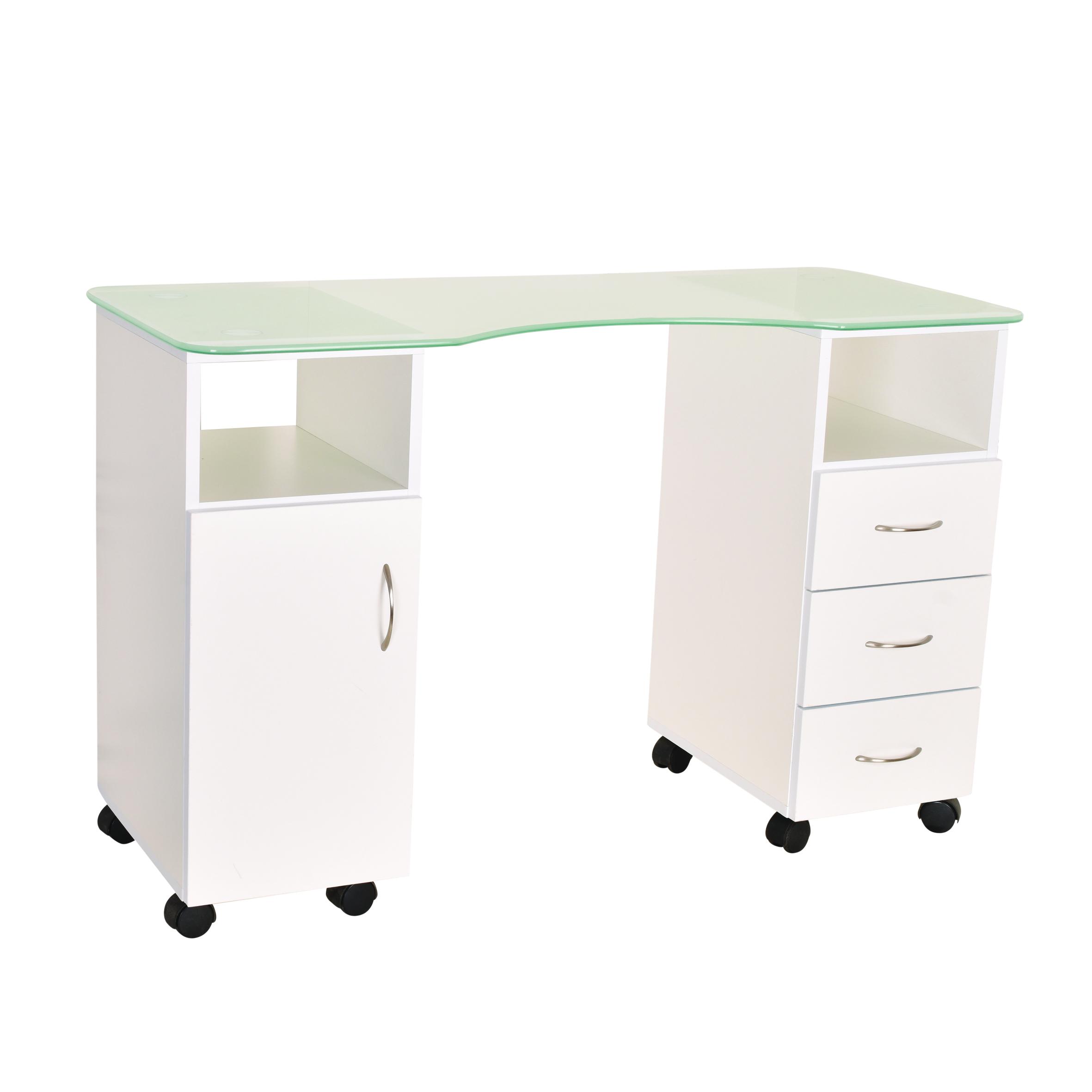 שולחן לבניית ציפורניים 1.20 פלטת זכוכית